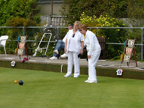 Photo: Ladies Pairs final end. Hildi draws another banker.