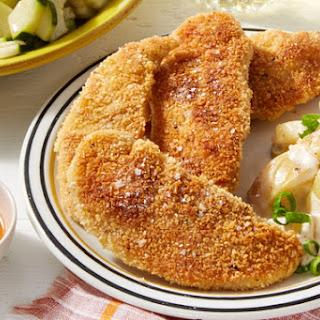 Crispy Chicken Tenders & Hot Honey with Potato Salad & Marinated Cucumber.