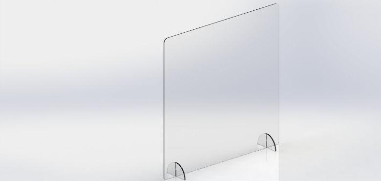 SafetyScreen plexiglass FreeStand 67x100 u/ luke