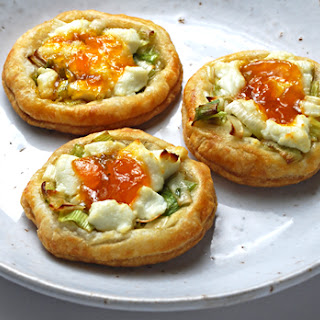 Goat Cheese Tarts with Leeks and Apricot Preserves