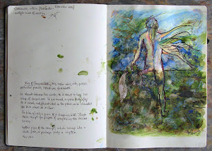 """Photo: 'Wing of Chrysalides,' 2011, 20cm x 27cm, 8"""" x 10.5"""", India inks, oil paint, oil pastel, watercolour pencils, Moleskine sketchbook.He  stands between two worlds; he is about to leap. His wing, of chrysalises. In his hand, a green butterfly. He is nearly undifferentiated in the green as he straddles the blue where he is clear.On him, glued, a piece of a shopping bill: 'Please retain receipt for purpose of completing the online survey.'Another piece of the receipt, which hangs like a white fish, or perhaps only a rhythm."""