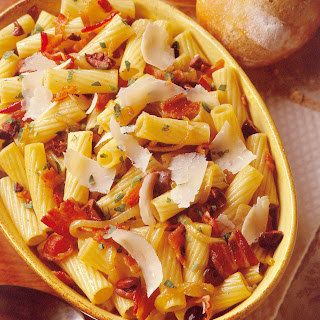 Rigatoni with Olives and Bacon.