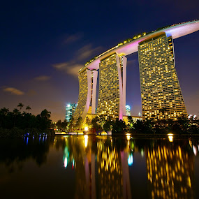 Marina Bay Sands Reflections by Samson Calma - Buildings & Architecture Office Buildings & Hotels ( skyline, mbs, marina bay sands, reflections, nightshoot )