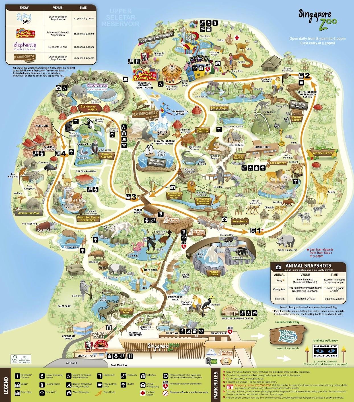 Singapore Zoo map