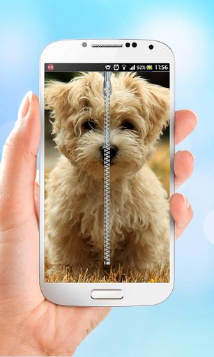 Puppy Dog Zipper Lock Screen
