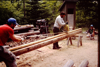 Photo: Dan, John & Karl cutting the ridge pole.