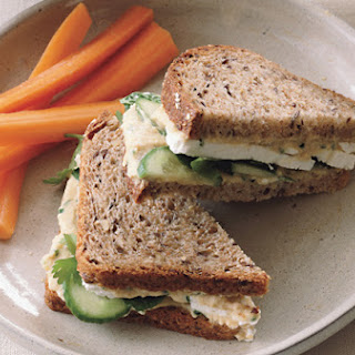 Hummus and Feta Sandwiches on Whole Grain Bread