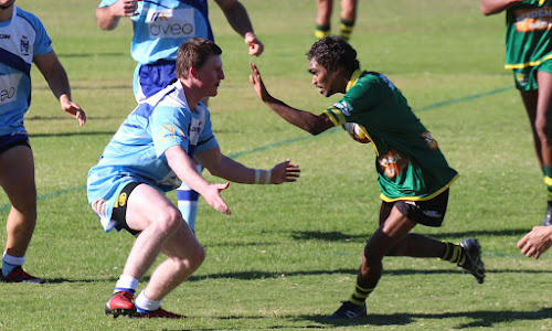 Blues' centre Damon Gleeson lines up Bendemeer centre Brayden Jerrard in Narrabri's 80-14 round two win. An under-18s player in 2017, Gleeson was superb in what was just his second first grade game on Sunday, especially in defence, but also in attack as he scored his first top-grade try.