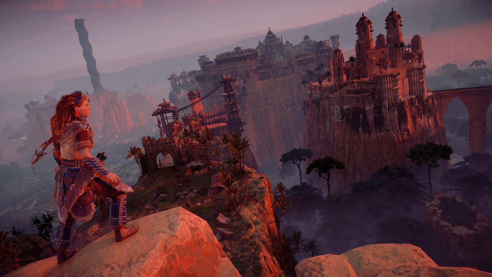 Horizon: Zero Dawn - Aloy i widok na miasto