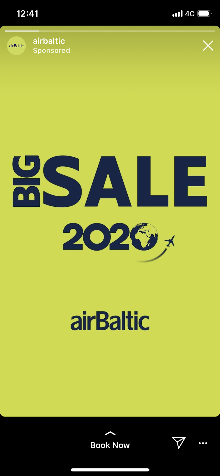 Airbaltic Instagram story ad example