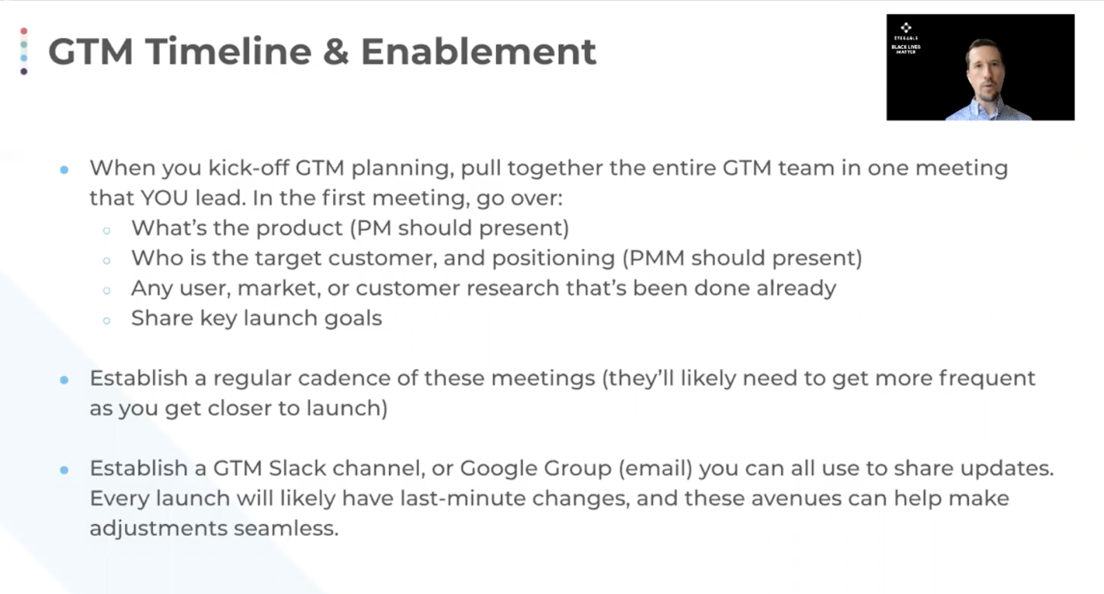 GTM timeline and enablement.