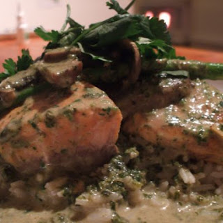 Salmon with Coriander Coconut Milk Curry.