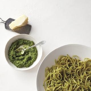 Mustard Green and Roasted Garlic Pesto with Pecorino-Romano Cheese