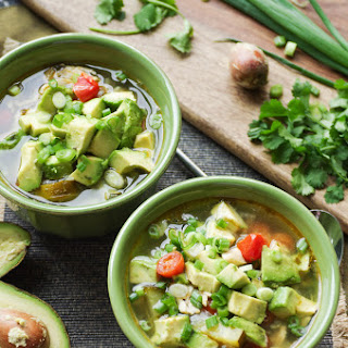 Chicken, Avocado + Zucchini Soup with Lime