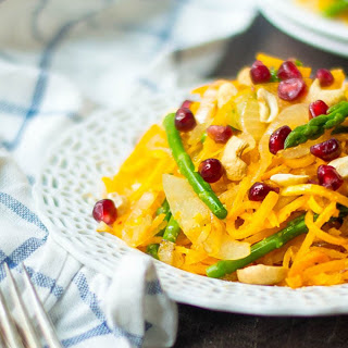 Spiralized Butternut Squash Noodles With Asparagus, Cashews, and Pomegranate [Vegan, Gluten-Free].