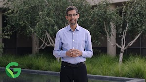 Image of Sundar Pichai announcing Google's next decade of climate action