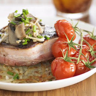 Filet Mignon with Mushrooms and Potato Cakes