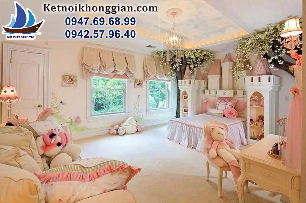 thiết kế phòng ngủ bé gái theo phong cách lâu đài