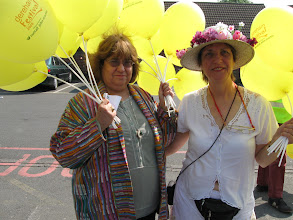 Photo: Barbara and Karyn Wood at the parade on the first day of the Dereham Festival.