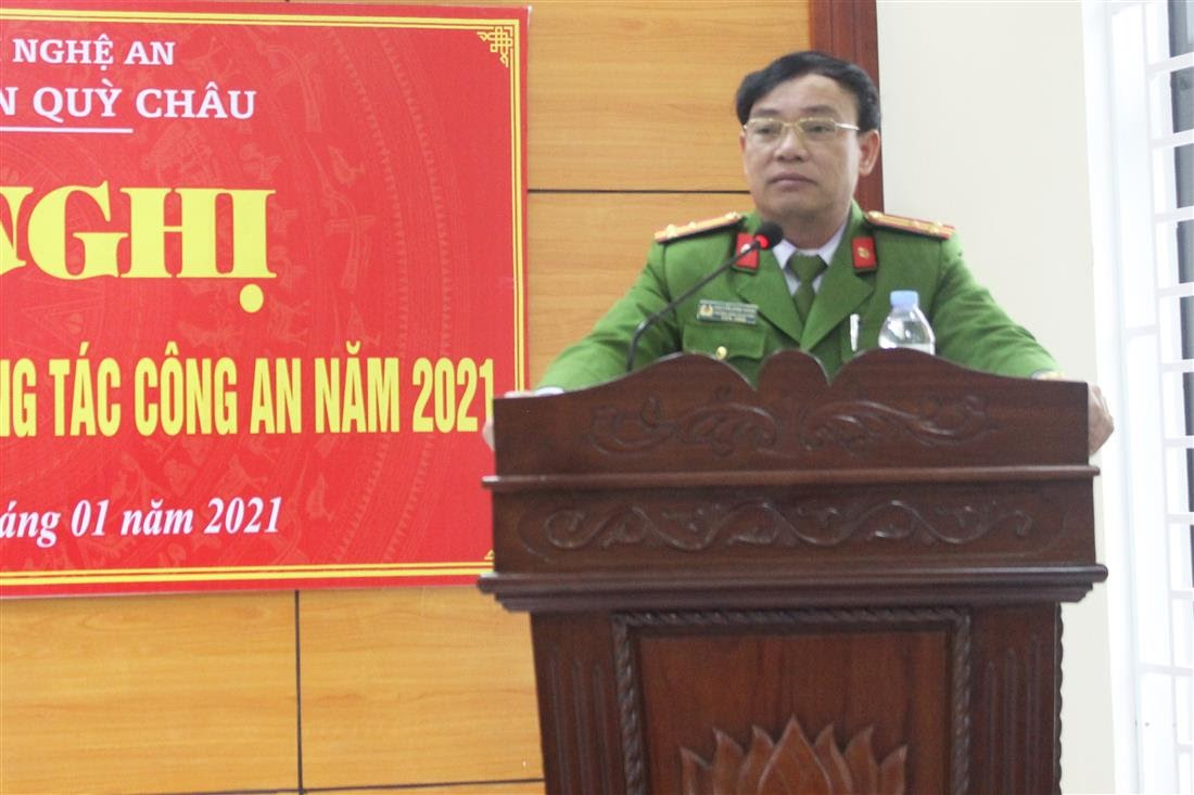 Đồng chí Thượng tá Nguyễn Đình Hùng – Trưởng Công an huyện Quỳ Châu phát biểu khai mạc Hội nghị