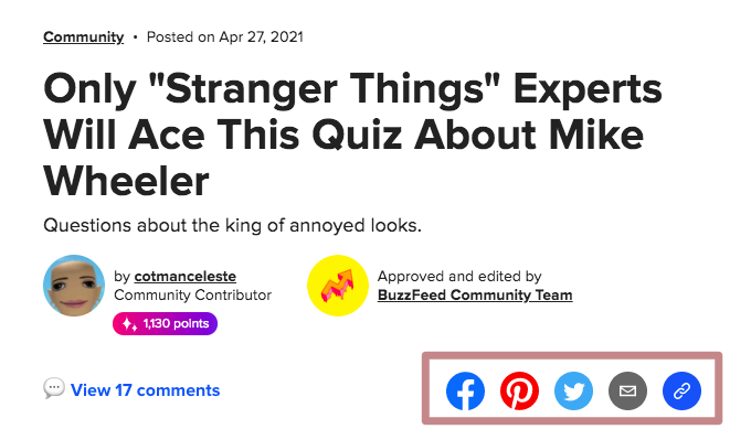 Buzzfeed quiz about Stranger Things