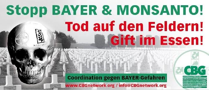 Banner: «Stopp Bayer & Monsanto», Gräberfeld und Totenkopf.
