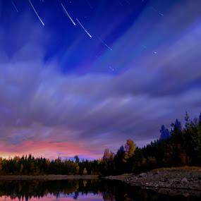 Stars & Clouds by Jennifer Parmelee - Landscapes Starscapes ( clouds, colors, stars, trees, places, landscapes )