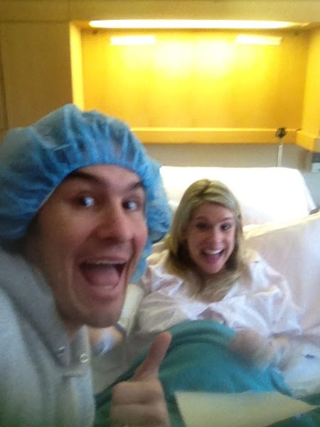 Photo: This is us being serious right before delivery. Like my hat?