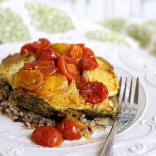 Curried Sea Bass with Blistered Tomatoes.