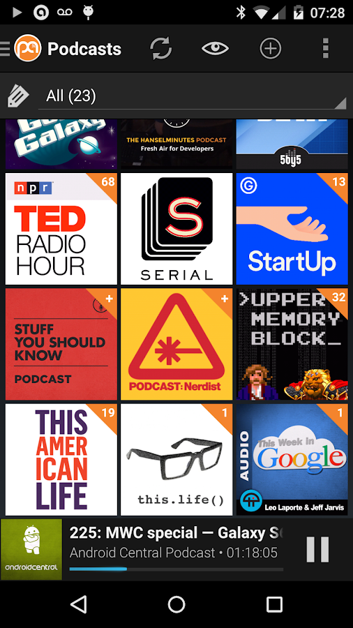 Podcast Addict (Android 2.3)- screenshot