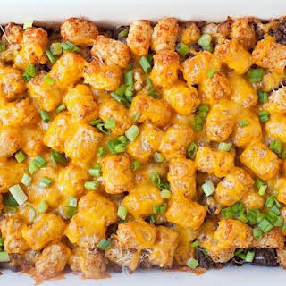 Three Cheese Beef Tater Tot Casserole.