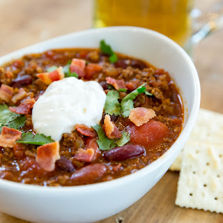 Hearty Bacon, Beef, and Beer Chili.