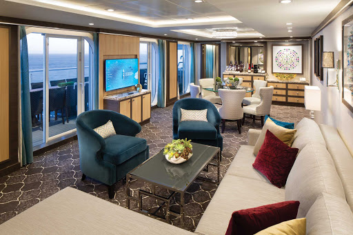 A roomy Villa Suite, a four-bedroom stateroom, on deck 12 of Symphony of the Seas.