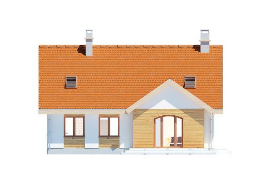 Groszek dach dwuspadowy - Elewacja tylna