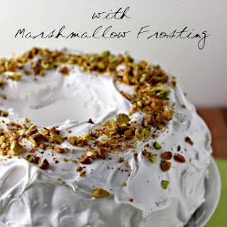 Pistachio Cake with Marshmallow Frosting.