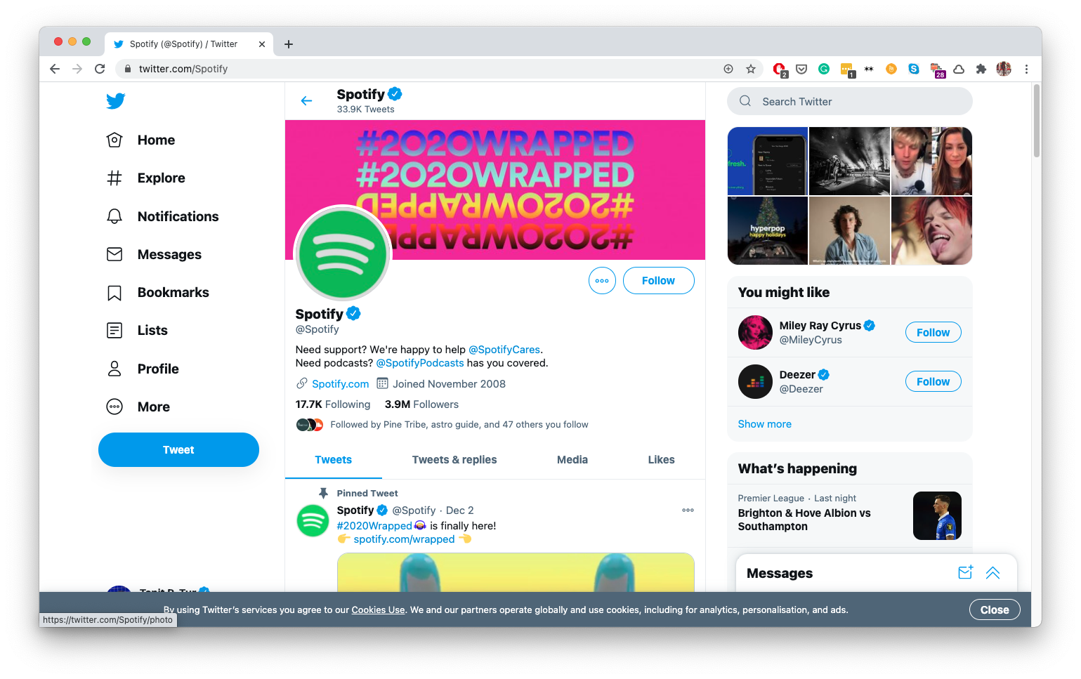 Spotify's Twitter account directs customers to a separate Twitter account to get help.