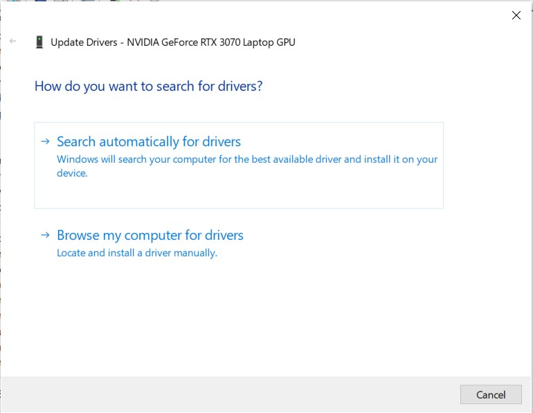 Search automatically for drivers option in driver update wizard