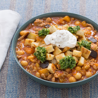 Spiced Turkey & Chickpea Chili with Chermoula, Labneh & Pita Croutons