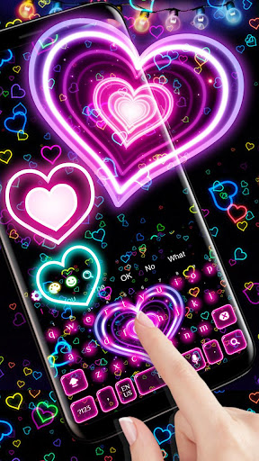 3D Neon Hearts Keyboard 10001004 screenshots 2