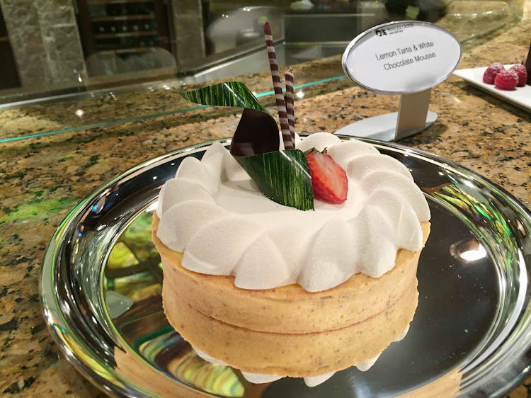 A lemon tarte and white chocolate mousse served on Ruby Princess.