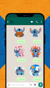Blue Panda Stitch Stickers for WhatsApp Screenshot