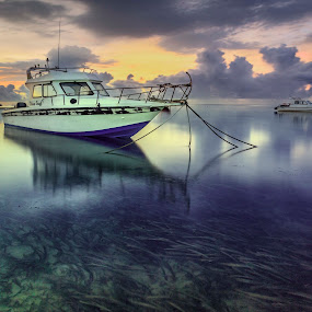 Parking in row by Ade Irgha - Transportation Boats ( bali, sanur, sunrise, boat, airimagebali )
