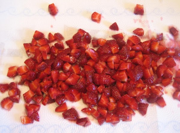 Prepare strawberries. Wash, dice, and gently pat dry.