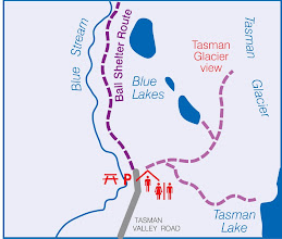 Photo: That afternoon I rented a bike to travel the ~10km to see the Tasman Glacier. Here's an inset map of the walks to Tasman Glacier and the lake.