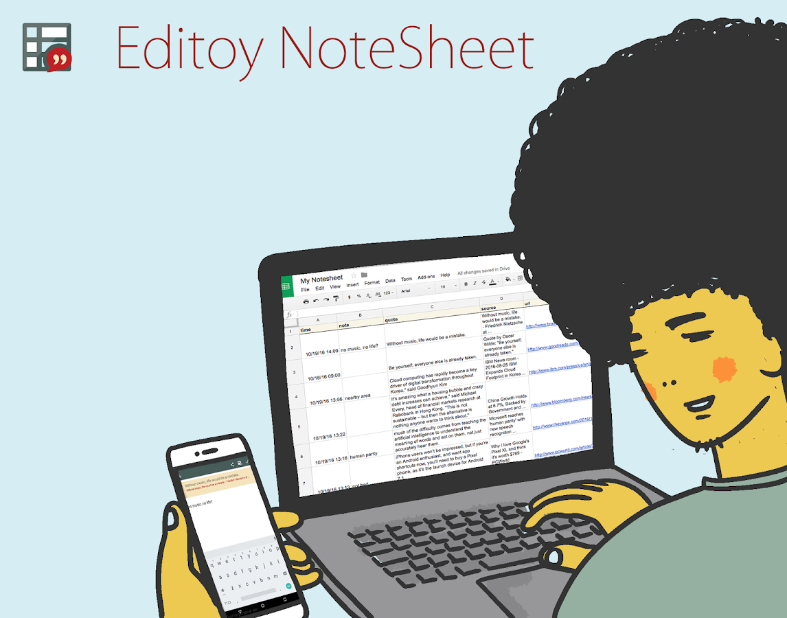 Editoy NoteSheet- screenshot