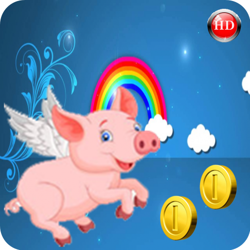 Piglet Jumping Flying Crazy