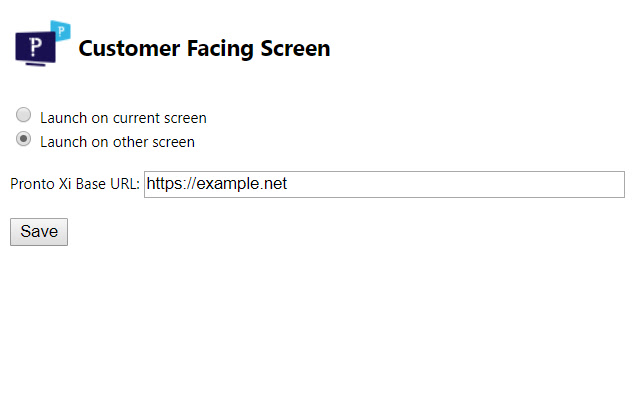 Customer Facing Screen