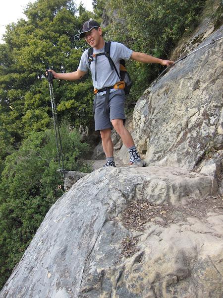 Photo: There are a few steep areas in the trail through Castle Rock.  These areas has cables for extra safety