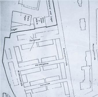 Skizze: Die Altstadt von Untergerresheim.