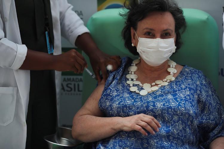 Doctor Margareth Dalcolmo receives the AstraZeneca/Oxford Covid-19 vaccine at FioCruz Institute in Rio de Janeiro, Brazil.